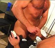 Masculine hairy gay couple sucking wet cock hard